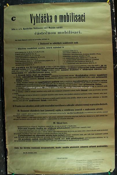 . - Vyhláška o mobilisaci 26. července 1914