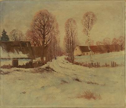 nesignováno - Zimní cesta vesnicí