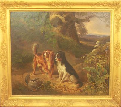 Matthias Johann Ranftl - Dva lovečtí psi v krajině