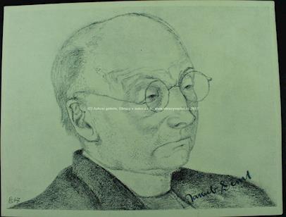 Jakub Deml - Portrét Jakuba Demla s jeho podpisem