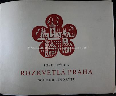 Josef Pýcha - Soubor 12 linorytů - Rozkvetlá Praha