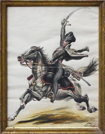 signatura nečitelná - Voják na koni