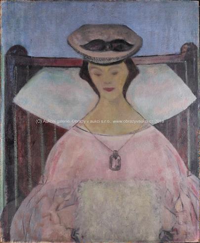 evropský malíř 20. stol. - Dáma s rukávníčkem
