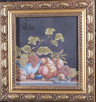 signováno nečitelně - Zátiší s révou a ovocem