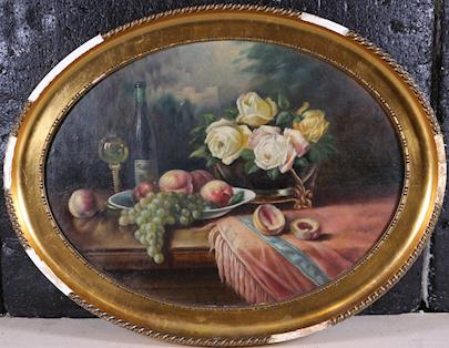 Franz Rund - Zátiší s růžemi a ovocem