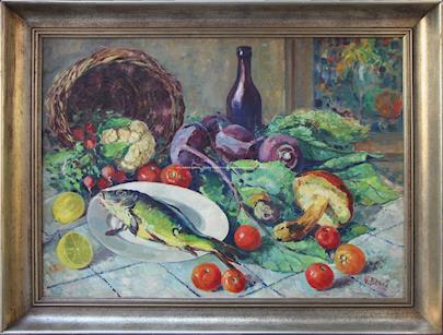 Vincenc Beneš - Zátiší s rybou a zeleninou
