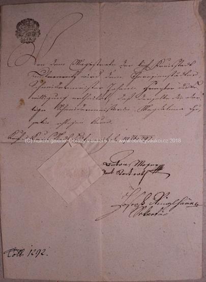 . - Dopis z roku 1797