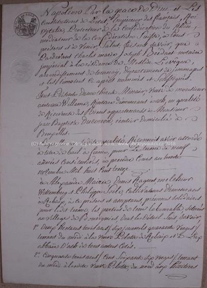 . - Úřední listina na vědomí z roku 1813