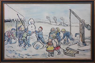 Alois Moravec - Stavění sněhuláka