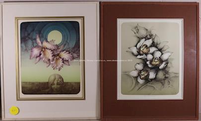 Zdena Burgetová - Soubor 2 litografií: Květy