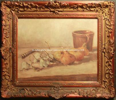 Antonín Slavíček - Zátiší s česnekem, cibulí a zavíracím nožem