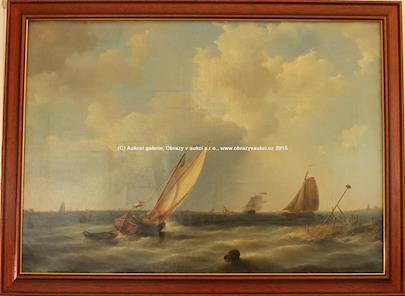 signováno Hermanus Koekkoek - Bárky na moři