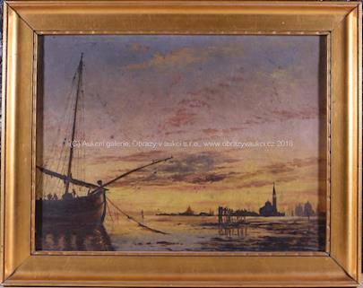 evropský malíř 20. stol. - Připlouvající loď