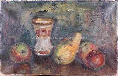 František Mikulka - Zátiší s pohárem a ovocem