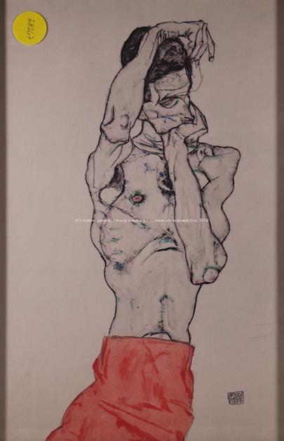 Egon Schiele - Stojící mužský poloakt