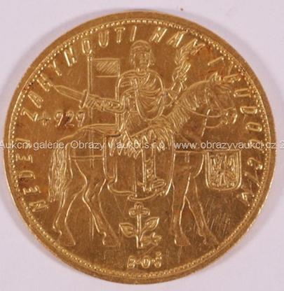 . - Pětidukát - sv. Václav, zlato 986/1000, hrubá hmotnost 17,45 g