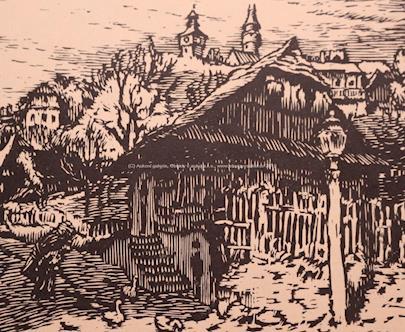 signatura  nečitelná - Vesnička pod hradem Štramberk- 3 dřevoryty