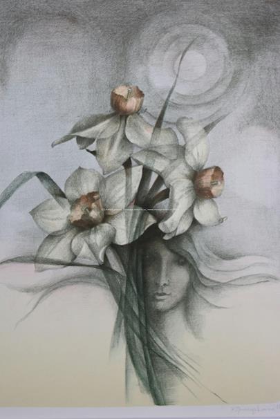 Zdena Burgetová - Soubor 2 litografií - Orchidej a Narcisy
