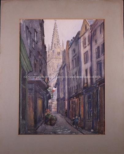 signatura  nečitelná - Soubor 4 akvarelů - St. Malo v Bretani