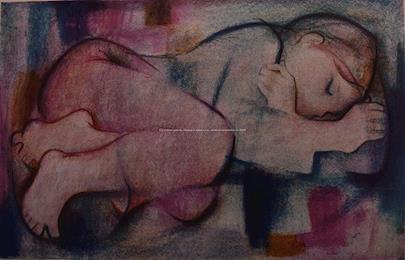 Alfréd Fuchs - Soubor dvou litografií: Spící dívka a Dívka s koláčem