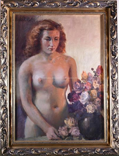 Antonín Bukolský - Akt ženy s růžemi