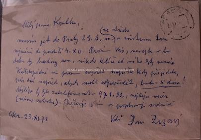 Jan Zrzavý - Soubor korespondence Jana Zrzavého, Maxe Švabinského, O. Kubína aj. se sochařem Boh. Koubkem