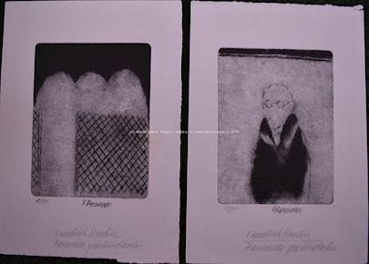 Vladimír Komárek - Soubor 2 litografií: Romance pro křídlovku