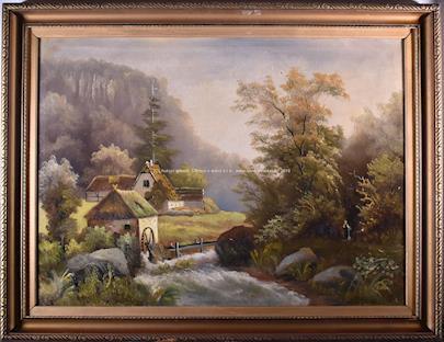 středoevropský malíř konce 19. stol. - U mlýna