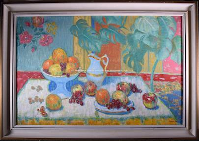 Ferdinand  Kamba - Zátiší s konvicí a ovocem