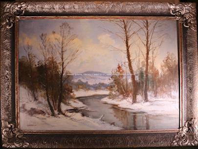 Gustav Macoun - Zimní krajina s potokem