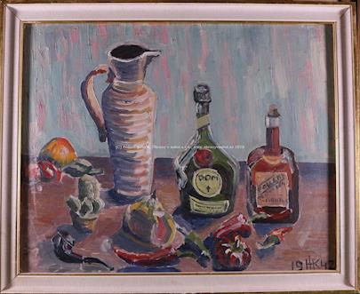 monogramováno H.K. 1942 - Zátiší s alkoholem a paprikami