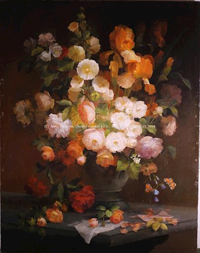 Josef Konečný - Bohatá kytice s motýlky