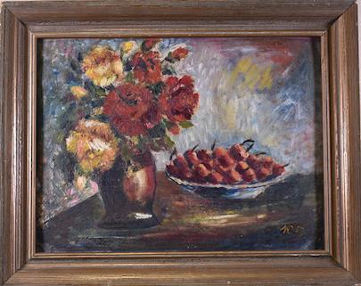 monogramováno K - Zátiší s květinou a třešněmi