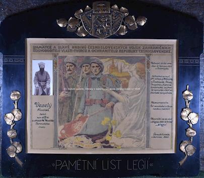Karel Špillar - Pamětní list Legií