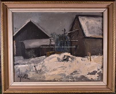 signováno nečitelně - Na vesnici v zimě