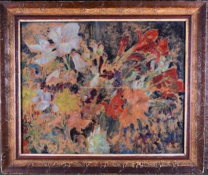 monogramováno R. - Pestré květy