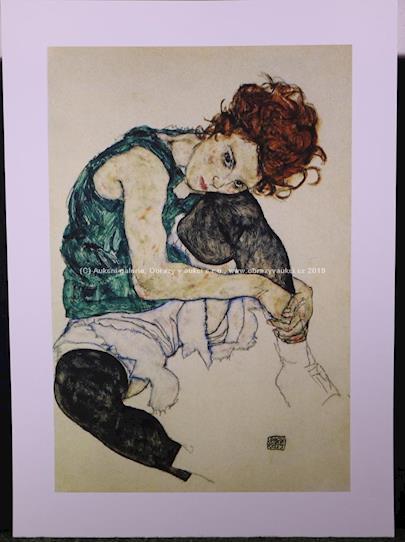 Egon Schiele - Sedící dívka