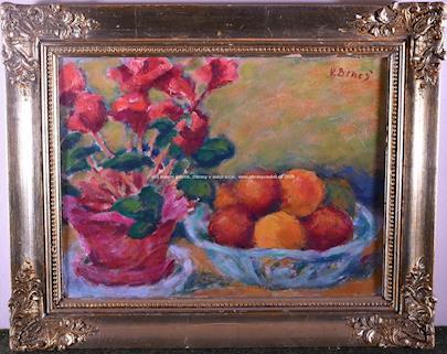 Vincenc Beneš - Zátiší s květinou a ovocem