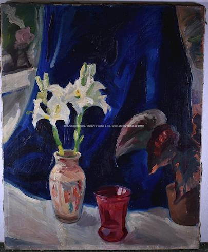nesignováno (Václav Špála?) - Zátiší se dvěma liliemi
