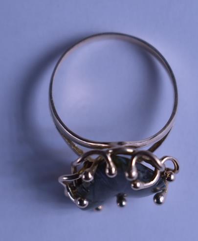 . - Prsten s vltavínem, zlato 500/1000, hrubá hmotnost 4,50 g