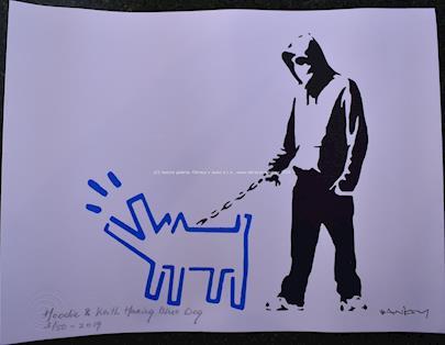 Banksy - Hoodie & Keith Haring Blue Dog