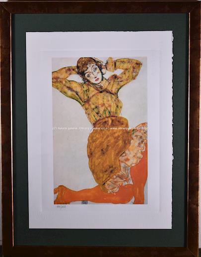 Egon Schiele - Žena v oranžových punčochách