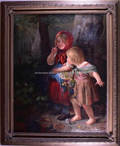 Evropa 19. století - Holčičky v lese VELKÝ FORMÁT