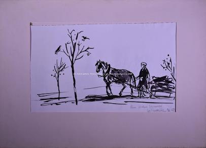Vojtěch Sedláček - S koněm (oboustranná kresba)