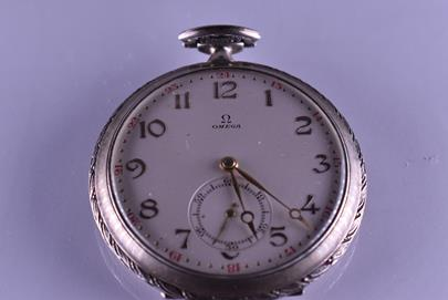 značeno Omega - Dvouplášťové hodinky Omega, stříbrný plášť, stříbro, 800/1000, značeno platnou puncovní značkou S-43, hrubá hmotnost 76,99 g