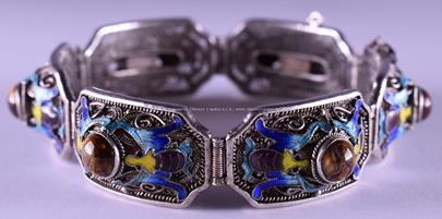 . - Náramek, stříbro 900/1000, značeno platnou puncovní značkou S-43, hrubá hmotnost 26,14 g