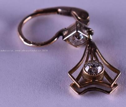 . - Náušnice s brilianty starého brusu, 4x cca 0,10 ct, zlato 580/1000, značeno platnou puncovní značkou Z-27, hrubá hmotnost 1,87 g