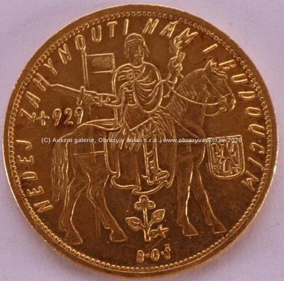 . - Zlatá mince Svatý Václav Pětidukát Československý 1931, Au 986/1000, hmotnost 17,42 g