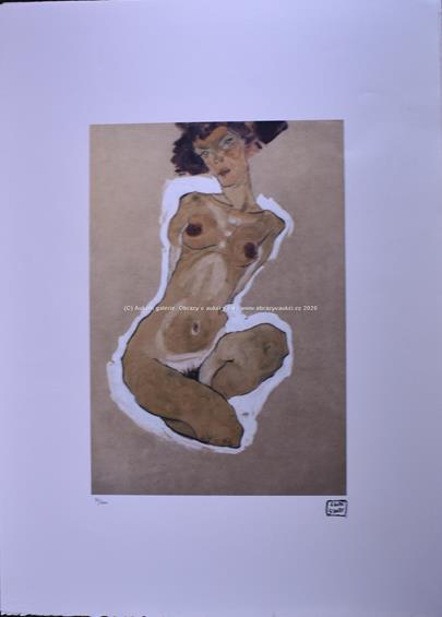 Egon Schiele - Klečící akt
