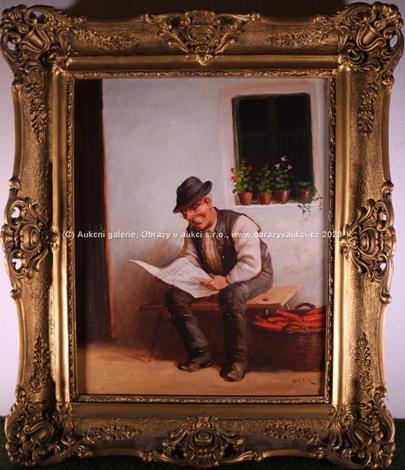 středoevropský malíř 1. pol. 20. stol. - Muž sedící u chalupy